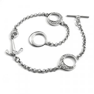 24704-sterling silver with rhinestoe bracelet