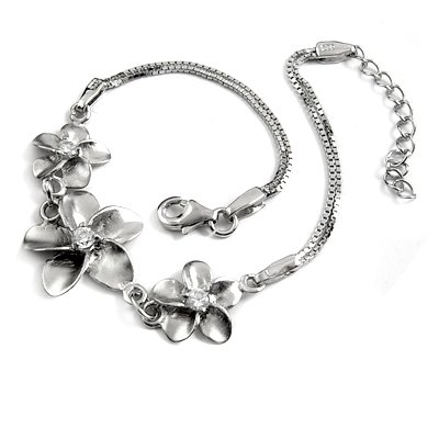 24705-sterling silver platium plated with  rhinestoe  bracelet