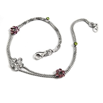 24708-sterling silver platium plated with rhinestoe bracelet