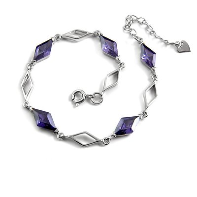 24711-sterling silver platium plated with rhinestoe bracelet