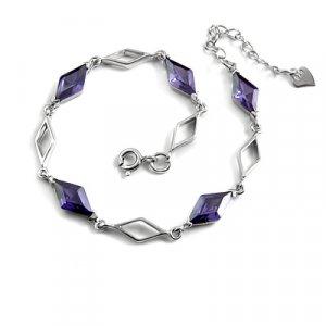 24711-sterling silver platium plated with rhinestoe bracelet