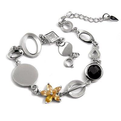 24713- sterling silver platium plated with rhinestoe bracelet