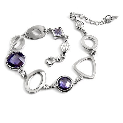 24714-sterling silver platium plated with rhinestoe bracelet