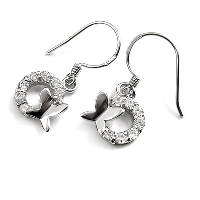 24721-Sterling silver with rhinestoe earring