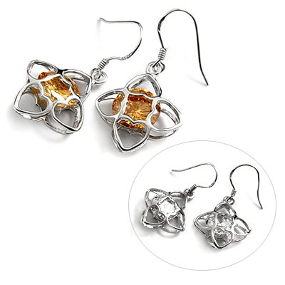24725-Sterling silver with rhinestoe earring