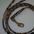 5' braided leather clip lead