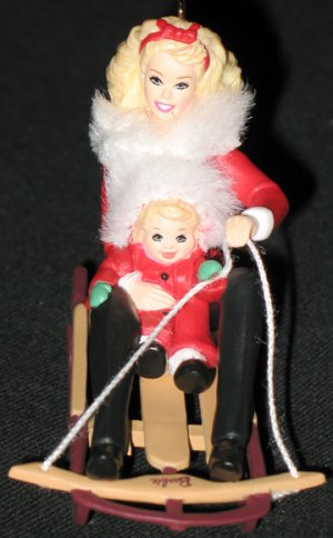 Winter Fun with Barbie and Kelly ornament