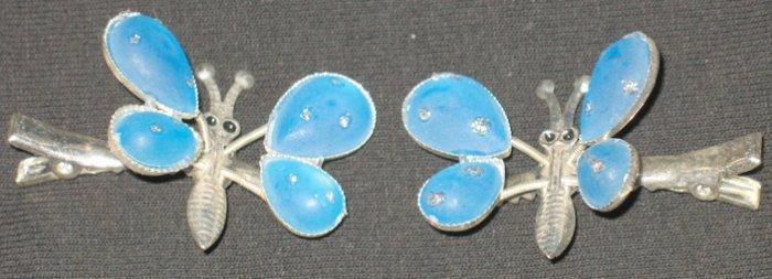 Blue Butterfly Barrettes/Clip Set