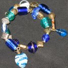 Blue seashell heart mermaid treasure--a memory wire bracelet