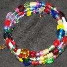 Golden lock and key on rainbow walk memory wire bracelet