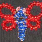 Red winged, pink eyed, Blue dragonfly beaded charm