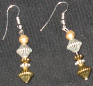 Silver and Gold Diamond Tower Dangle Earrings