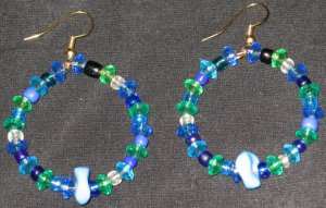Sea Blue Age hoop dangling earrings