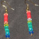Rainbow Stick Sparkly dangle earrings