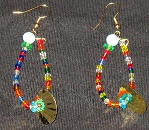Colorful mermaid tail dangling hoop earrings
