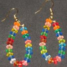 Hawaiian Rainbow fruitloop dangling hoop earrings