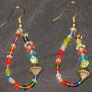 Rainbow Jeweled Orient dangling hoop earrings