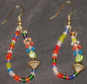 Rainbow Jeweled Orient dangling hoop earrings