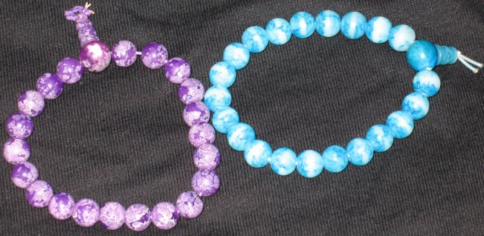 Set of two beaded bracelets: purple and blue