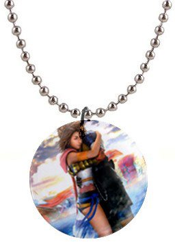 Yuna and Tidus hug--ffx/ff10-1 inch button Necklace