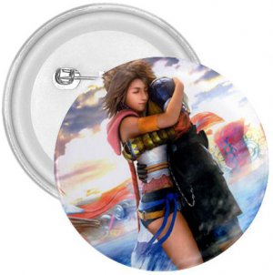 Yuna and Tidus hug--ffx/ff10-3 in. Button