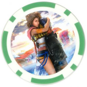 Yuna and Tidus--ffx/ff10--green Poker Chip Card Guard