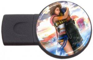 Yuna and Tidus--ffx/ff10-round USB Flash Drive 1 GB