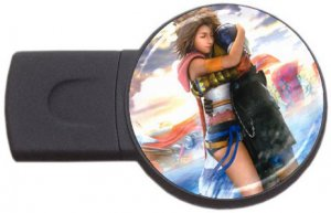 Yuna and Tidus-ffx/ff10- round USB Flash Drive 4 GB