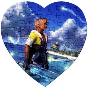 Warrior Tidus ffx/ff10--heart shaped Jigsaw Puzzle