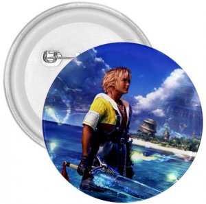 Warrior Tidus ffx/ff10--3 in. Button