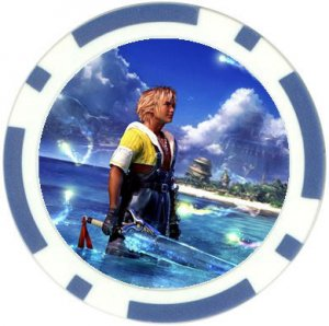 Warrior Tidus--ffx/ff10--10 blue Poker Chip Card Guard