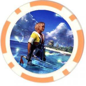 Warrior Tidus--ffx--10 orange Poker Chip Card Guards