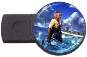 Warrior Tidus-ffx/ff10- round USB Flash Drive 4 GB