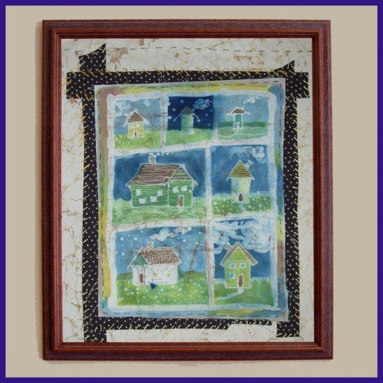 """The Neighborhood"" Primitive Folk Art Batik, Original, Framed"