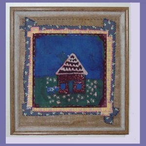 """Small House"" Framed Batik Painting, Primitive Folk Art, Quilt Block Style"