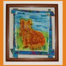"""Morning Cat"" Oroginal batik painting, prim folk art style"