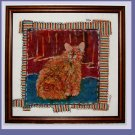 """Afternoon Cat"" Original batik painting, framed"