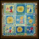 """Sue Cracks Up"" Original Batik Art Quilt, Sunflowers, Sunbonnet Sue"