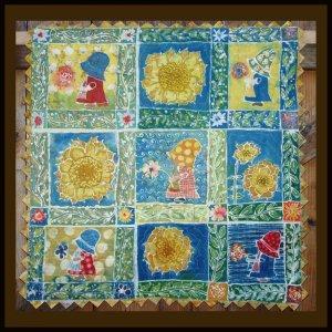 """""""Sue Cracks Up"""" Original Batik Art Quilt, Sunflowers, Sunbonnet Sue"""