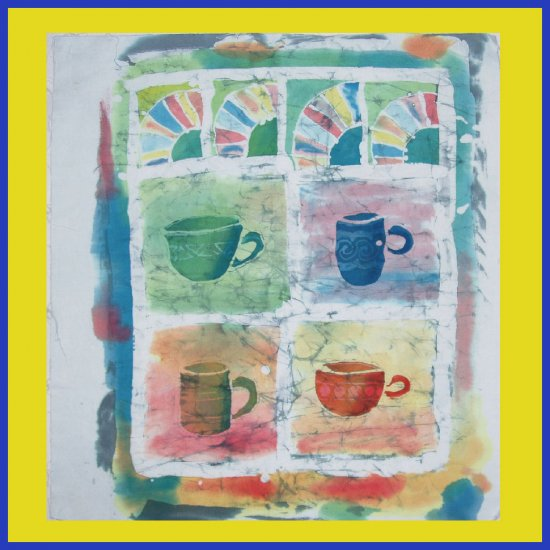 """""""Cups and Fans""""  Original Batik painting of Coffee or Tea Cups"""