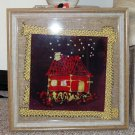 """Waiting Up"" Original Framed Batik Painting of a Quilt BlLock Style House"
