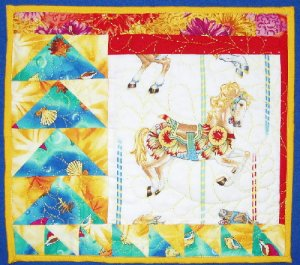 Yellow Merry-Go-Round Horse Wall Hanging, 13""