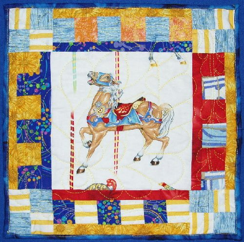 "Blue Merry-Go-Round Horse Wall Hanging 14"" quilted"