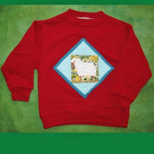 Red Sheep Quilt Sweatshirt, child size XS(4/5) 630