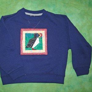 Navy Blue Puffin Quilt Sweatshirt child small 658