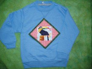 Light Blue Toucan Quilt Sweatshirt Child Med 647