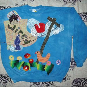 Wired  for Sound primitive Sweathshirt with bird XLarge 869