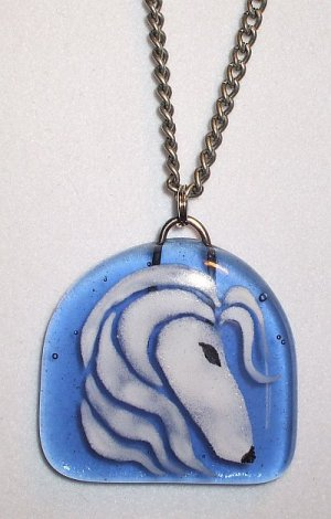 Fused Glass Afghan Hound Necklace