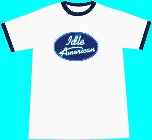Idle American T-shirt - White-Navy Ringer LARGE