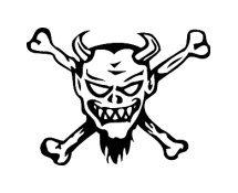 Gremlin Devil Skull and Crossed Bones Vinyl Auto Car Truck Window Decal Sticker #sku-012